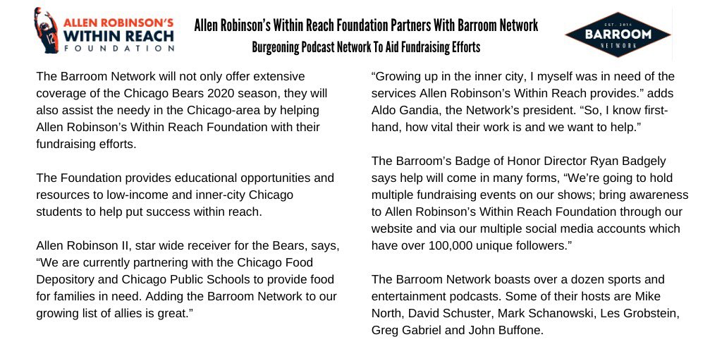 Here is the official press release related to @BearsBarroom partnership with @ARWithinReach