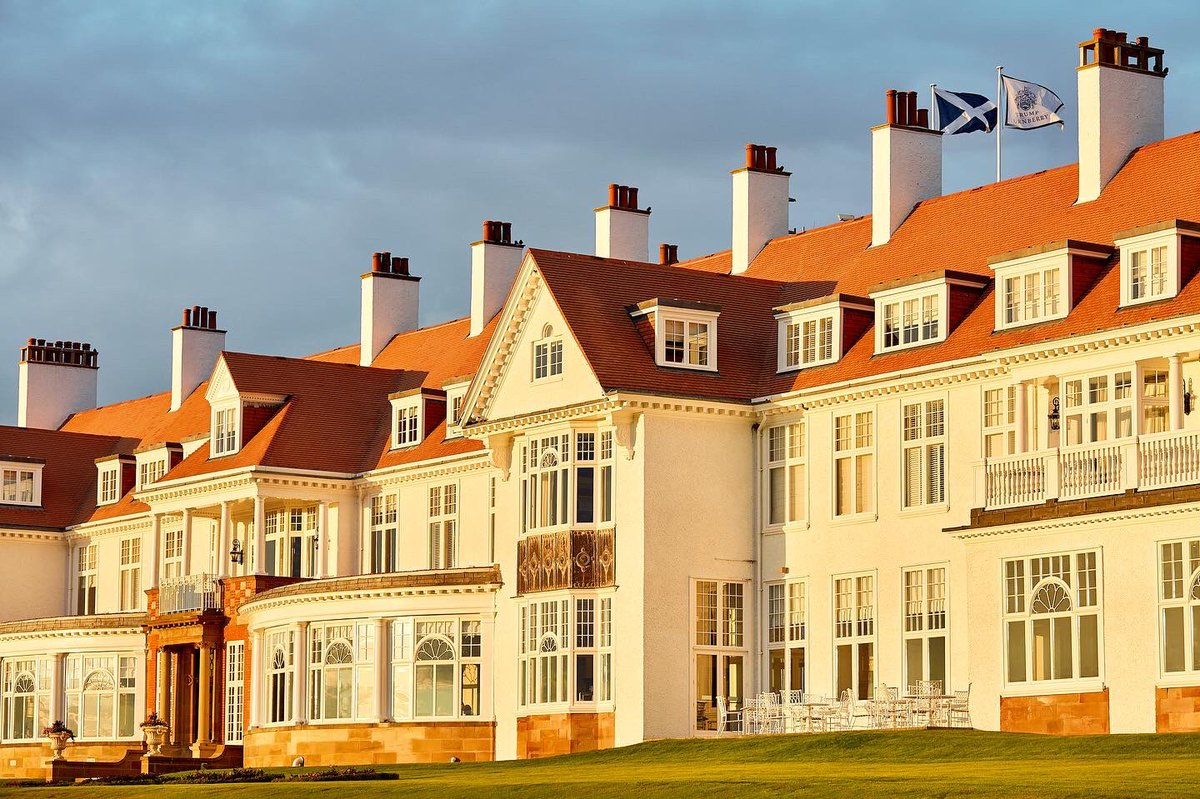The striking facade of @TrumpTurnberry can only be matched by its stunning interior and breathtaking ocean views.