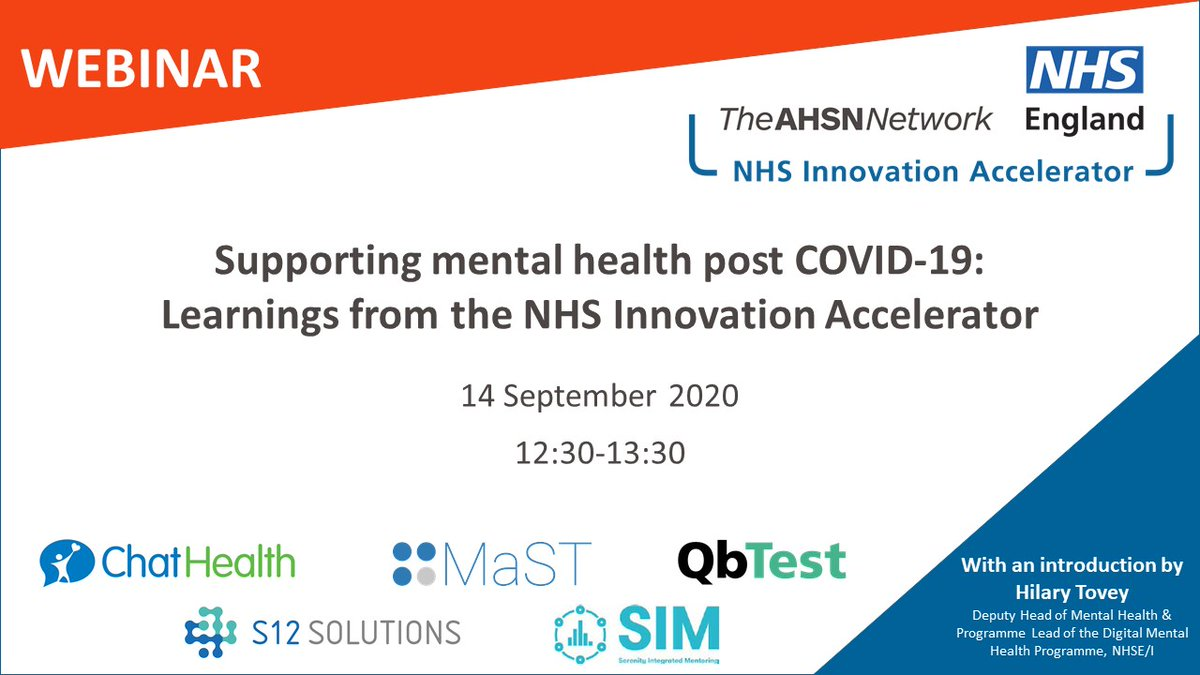 What has innovation done for #mentalhealth during #COVID19? Join our webinar on Monday 14/09 to find out. Hear from @ChatHealthNHS @S12Solutions @QbtechADHD @SIMintensive and @GaddCaroline with an intro by @NHSEngland @hilarytovey. Register to attend: https://t.co/74CtGve8aR https://t.co/ChTUd912lq