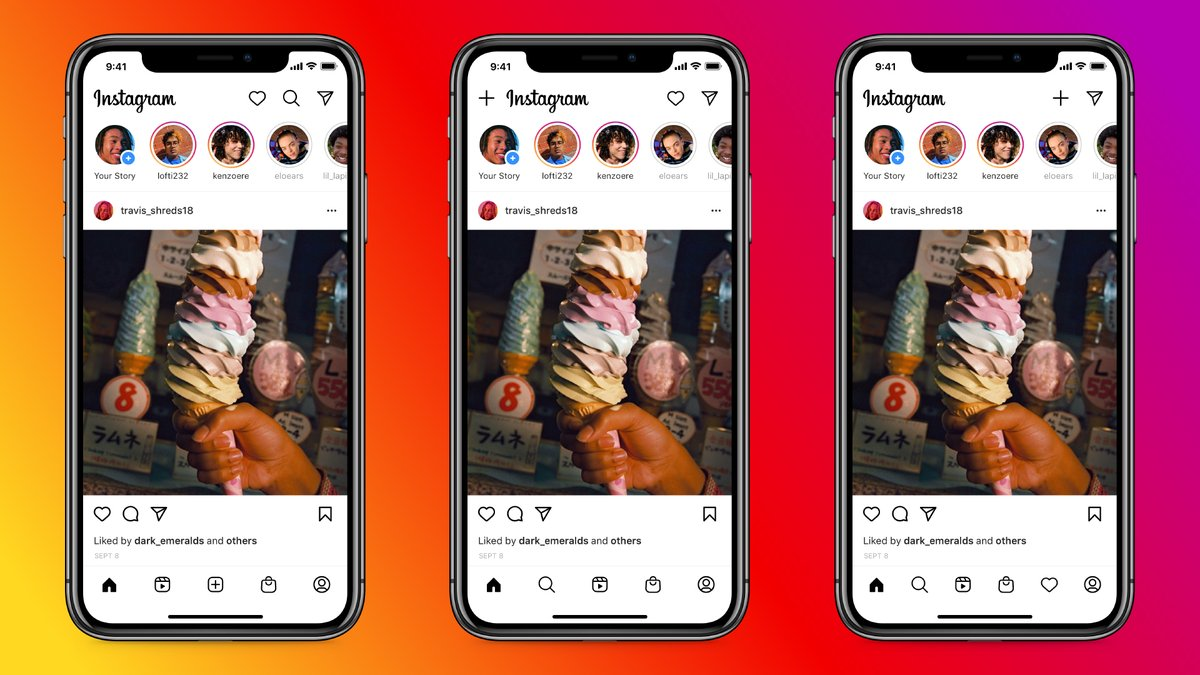 *Testing, testing* different versions of the home screen. ✨   Open Instagram and you'll soon see a Reels and Shop tab in one of these layouts.   These updates represent how people are using the app and giving extra love to creators, videos and shopping. 🤳📹🛍 https://t.co/Rnyf37ddQb
