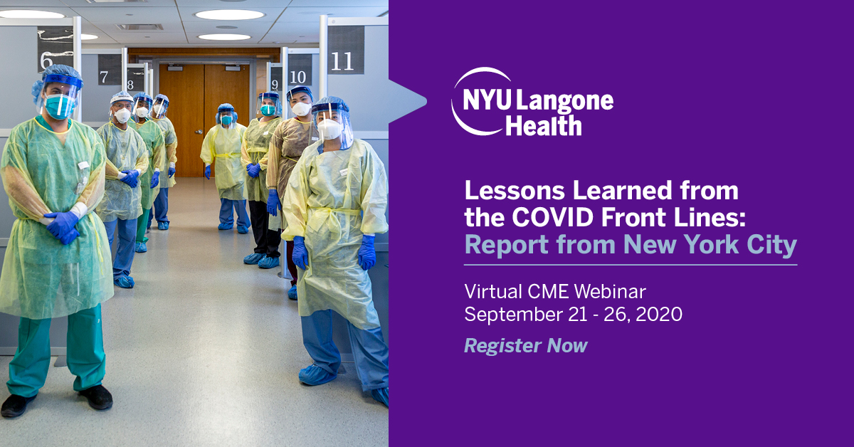 Join our faculty to discuss lessons from the front lines of #COVID19. This virtual #CME will focus on early recognition, accurate diagnosis, emerging and investigational treatments, and overall care management plan for patients. Register now: https://t.co/L3dIeIQzO7 https://t.co/VFNpxSZjlj