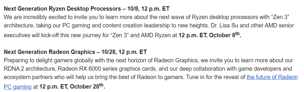 Eric Jhonsa On Twitter Amd Holding A 10 8 Event To Unveil Its First Zen 3 Desktop Cpus And A 10 28 Event To Unveil Its First Rdna 2 Gpus Including Presumably Big Navi