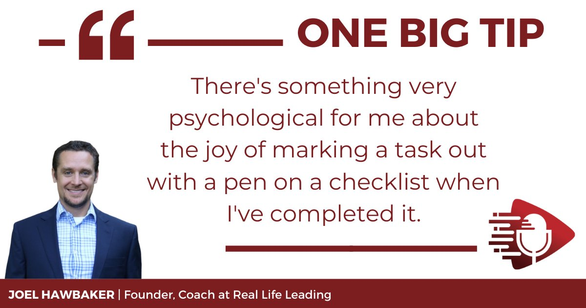 Life coach Joel Hawbaker recommends physically writing out things you have to do every day due to the satisfaction of marking something out with a pen when something has been done. Listen to the full #OneBigTip podcast below. #taskmanagement https://t.co/hSSsvC67xV https://t.co/dxqb05A0hk