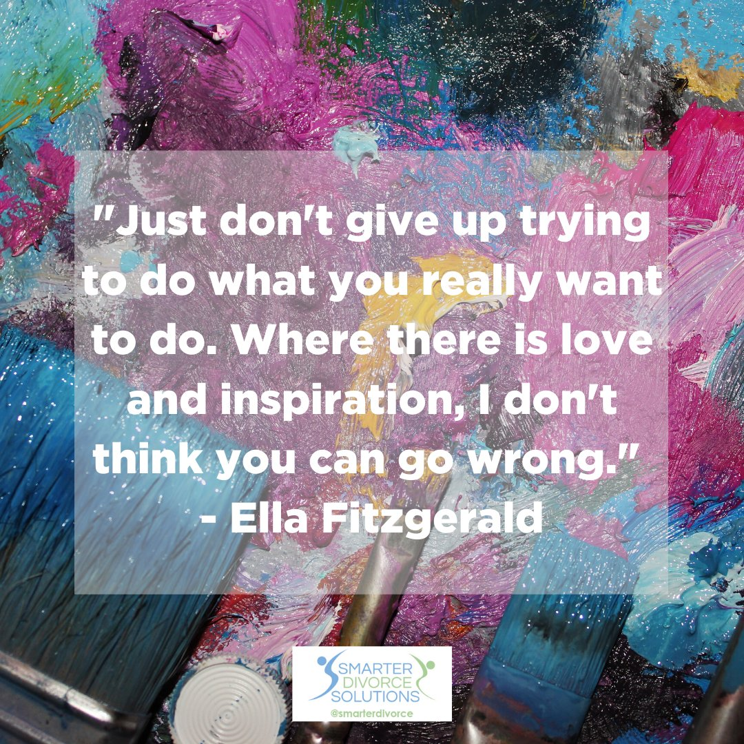 """""""Just don't give up trying to do what you really want to do. Where there is love and inspiration, I don't think you can go wrong."""" - Ella Fitzgerald . #SmarterDivorceSolutions #DivorceDoneDifferently #Divorce #Mediation #CDFA #Inspiration #Quotes https://t.co/QEmhCEtoAD"""