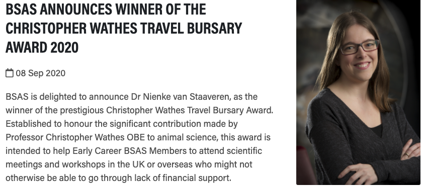 @NStaaveren, your hard work is paying off!!! Congratulations on this prestigious Award! I couldn't think of a more worthy candidate - thank you for being a role model, a fantastic scientist, and a great colleague to everyone you work with! @CCSAW_UofG @ABSc_UofG @CgilUofG https://t.co/59wmLIIisA