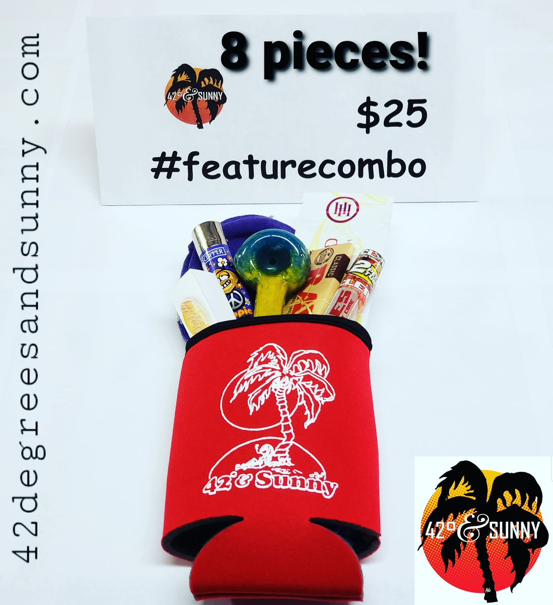 Mid-week #featurecombo in a #koozie! 8 pieces for $25! #spoonpipe #filtertips #clipperlighter #leafsocks #clearcones #highhempwraps #rawrollingpapers #smokingdeals on #smokingaccessories #420friendly #headshop #420family #420andsunny #42degreesandsunny https://t.co/gx9hEVQ2tF