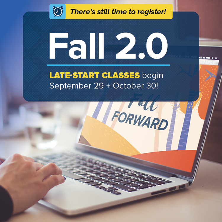 If your plans for fall have changed, there's still time to earn college credits! We've released a new set of accelerated, remote-learning classes that begin on Sept. 29 and Oct 20. Learn more at https://t.co/AfztCTY3cc. https://t.co/43XgZYTozA