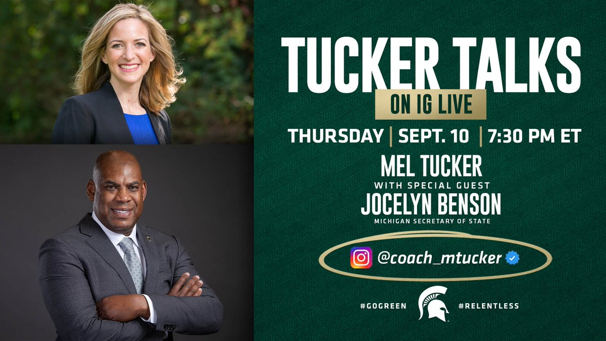 We have a special IG Live edition of #TuckerTalks tomorrow with Michigan's Secretary of State @JocelynBenson❗️   Tune-in at 7:30 P.M. E.T. with our #RELENTLESSMadamSecretary👊🏾 https://t.co/2IFEVKOACL