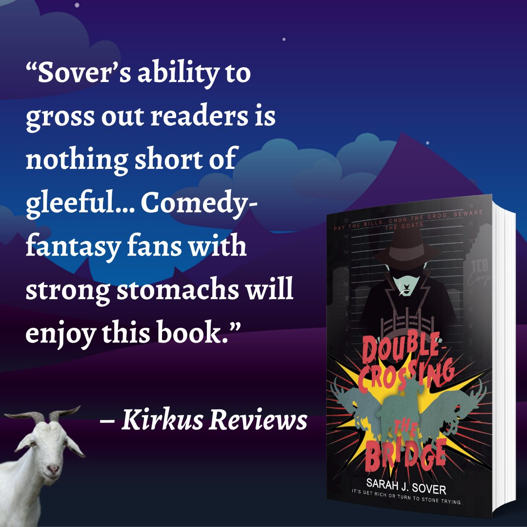 """Thank you @KirkusReviews for this stellar write-up of Double-Crossing the Bridge!   """"Sover's ability to gross out readers is nothing short of gleeful…Comedy-fantasy fans with strong stomachs will enjoy this book."""" – Kirkus Reviews  https://t.co/UPY8f7zpSh https://t.co/E4MLTBKQ5R"""