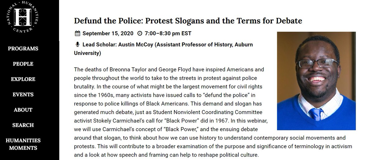 "I'm giving a talk with the @NatlHumanities next Tuesday evening about my @AHAhistorians Perspectives ""Defund the Police"" essay. You can still sign up! Thread is a preview https://t.co/iYxCiHTBla https://t.co/fXtN4l8dvM"