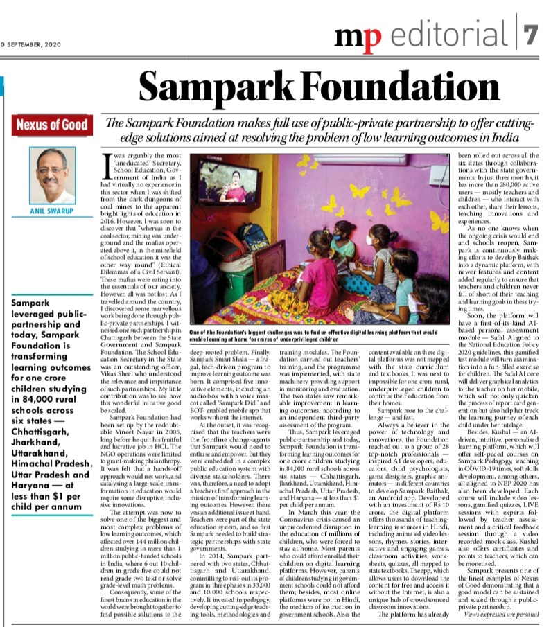 Another shining example of Nexus of Good. Public-Private partnership is the key to improving quality of school education so amply demonstrated by @Samparkorg under inspired leadership of @vineetnayar. @nexusofgood millenniumpost.in/opinion/sampar…