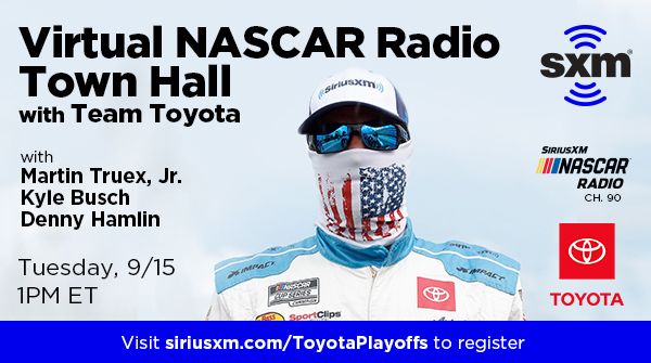 .@TheMikeBagley will host a Virtual SiriusXM NASCAR Radio Town Hall with @TeamToyota on 9/15 via Zoom.   His guests will include @KyleBusch, @DennyHamlin & @MartinTruex_Jr!   Sign up NOW to join: https://t.co/F1GavxxWnL https://t.co/m6rho5KRN4