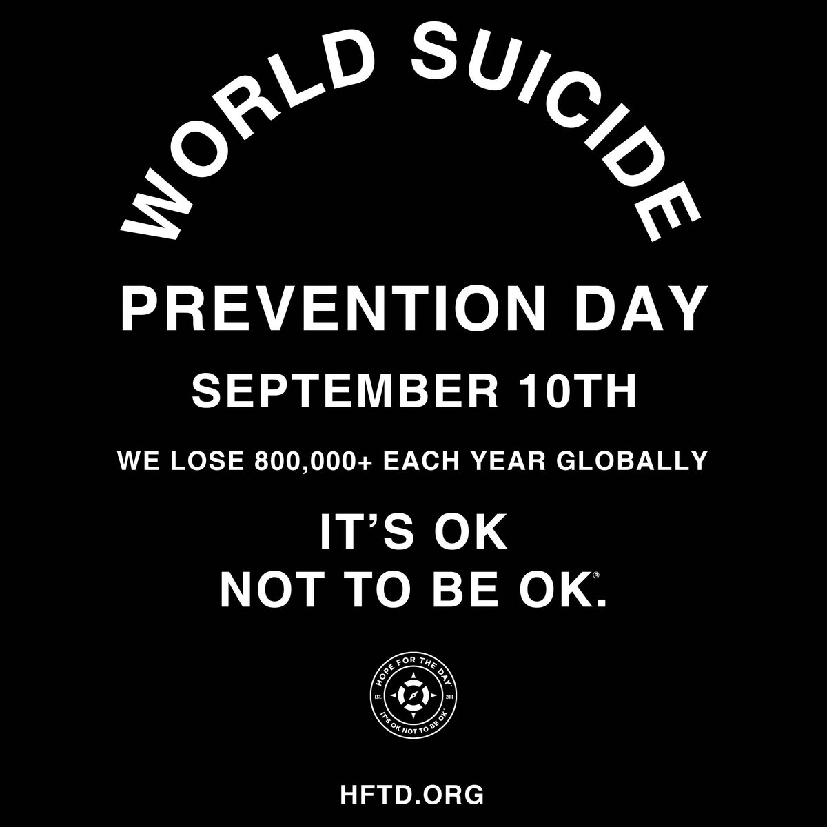 TOMORROW is WORLD SUICIDE PREVENTION DAY. We lose 800,000 people each year globally, and suicide is a preventable mental health crisis! SWIPE THRU to see 3 ways you can take action with us right NOW. #hopefortheday #itsoknottobeok https://t.co/sz5frc2Ahx