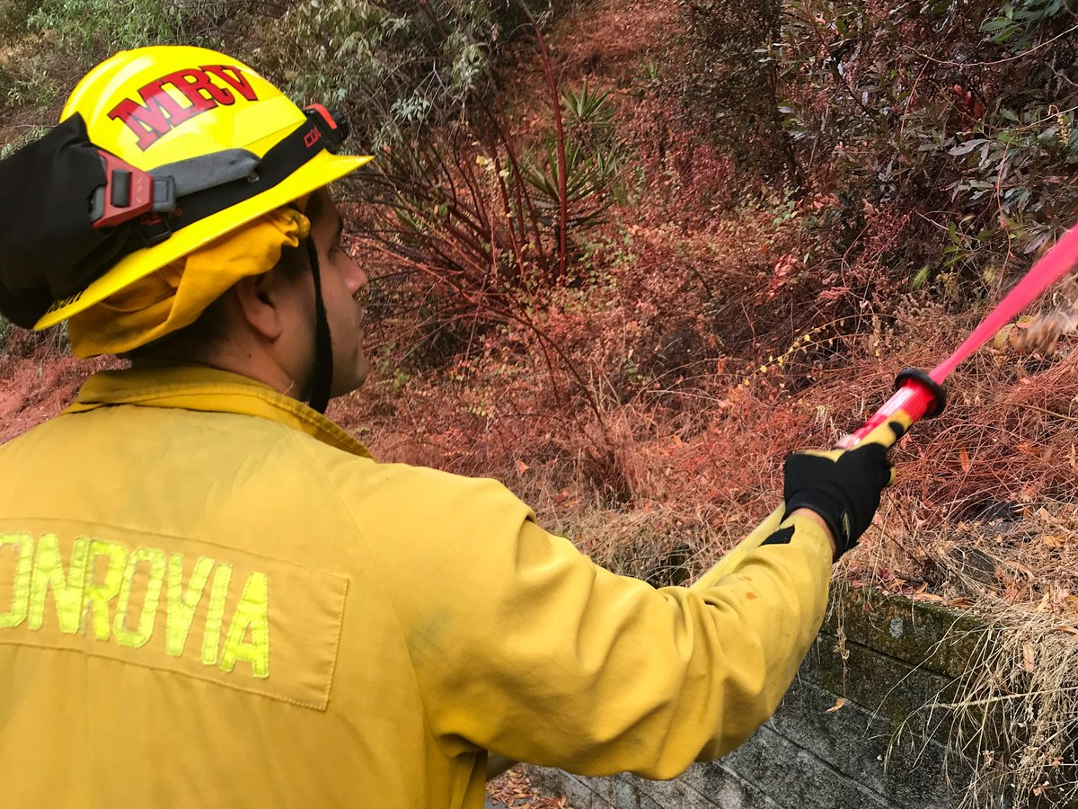 Fire personnel from various agencies, along with our Monrovia firefighters, have been working hard to protect the hillside. The crew has pre-treated the area, cleaned hazardous vegetation & improved access points.   View the full statement: https://t.co/hgSyOygodd https://t.co/M1QxWm38s4