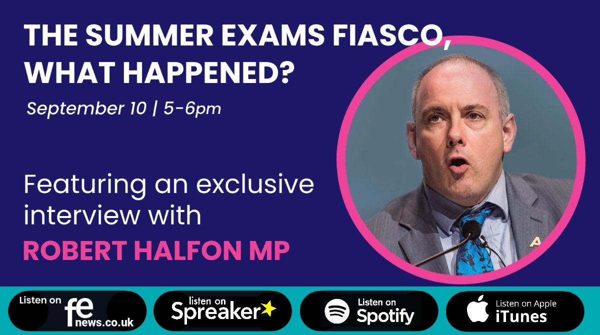🌐 On tonight's episode of #SkillsWorldLive @TomBewick discusses this summer's exam crisis with guests @halfon4harlowMP | @RaeTooth | @Lehain | @DavidPriceOBE | Amarjit Basi  🎧 Listen live from 5pm or in playback via @FENews - https://t.co/gbu1tiZAP7 @Spotify @iTunes @Spreaker https://t.co/xzSGwkVdoP