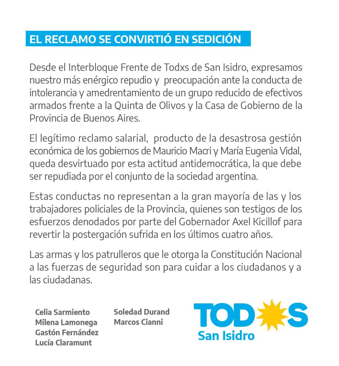Comunicado del interbloque @FrenteDeTodos en #SanIsidro https://t.co/Em8USOI7YJ