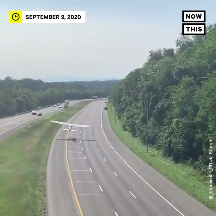 An airplane took off from an interstate highway in Knoxville, TN, after using the road as an emergency runaway when running out of fuel. After refueling, it was back up & on its away. https://t.co/eJ9WwapkqU