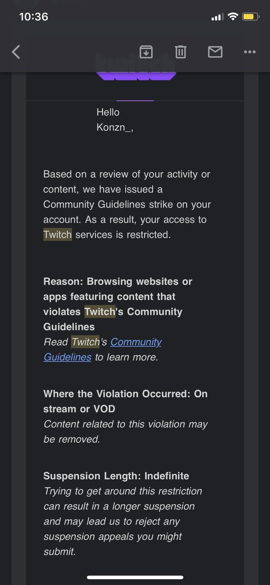 Perma banned again only took me 3 weeks except this time I actually didn't do anything. Never did I go on a website that violates TOS 🤔 @TwitchSupport https://t.co/Z7ZifNqNNc