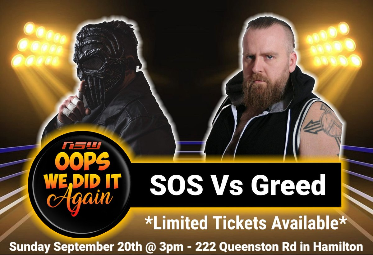 🚨MATCH ANNOUNCEMENT🚨 @HackerScotty Vs @greedwrestling  Sunday September 20th @ 3pm 222 Queenston Rd in #HamOnt https://t.co/XyTiShdIJB