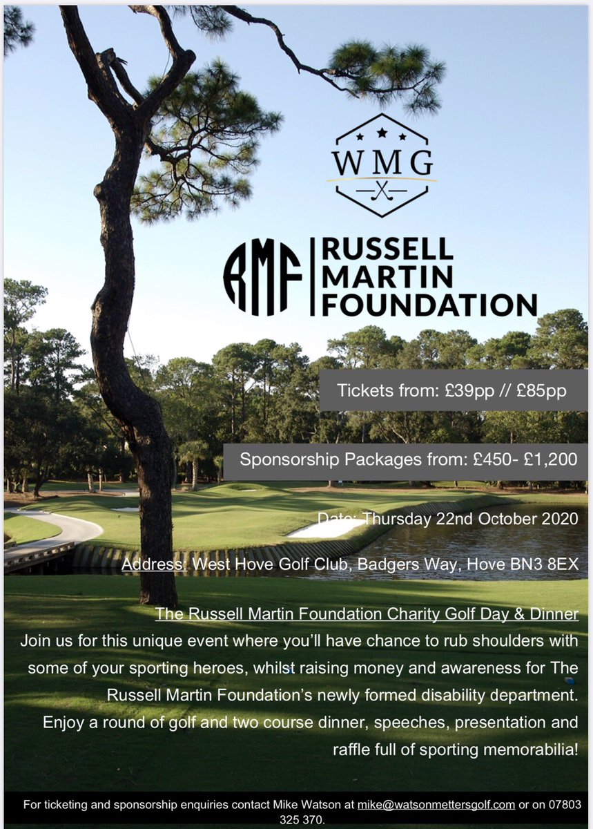 The @russellmartinfoundation has teamed up with @watsonmettersgolf to arrange a charity golf day at @westhovegolf If you are interested in this unique event, where you will get the chance to rub shoulders with some of your sporting hero's, please get in contact. https://t.co/7AtKngC2zs