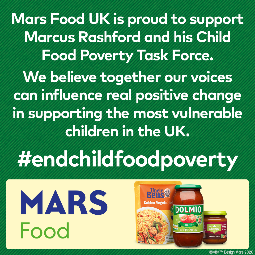 Mars Food is proud to have joined @MarcusRashford and his Child Food Poverty Task Force. We are already working with the @trusselltrust to #standagainsthunger and support the distribution of 2 million meals as we believe we can help make a difference #ENDCHILDFOODPOVERTY