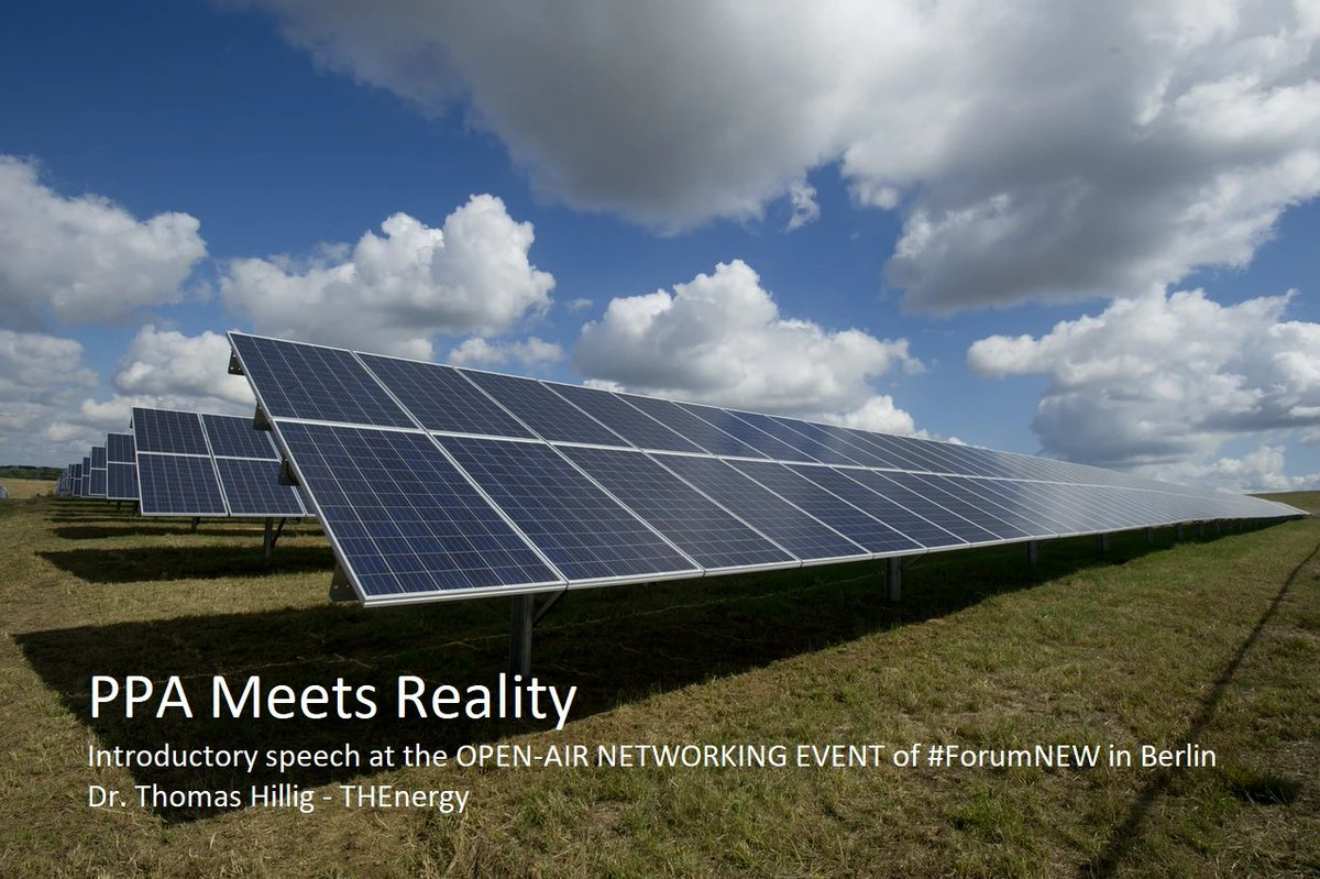 PPA MEETS REALITY  Looking forward to my introductory speech about #corporatePPAs at the OPEN-AIR NETWORKING EVENT of #ForumNEW in Berlin 🇩🇪 on Sep 24th.  https://t.co/w6f7y3t7bu #Energiewende https://t.co/mLMWqh2tff