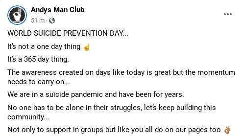 Please Retweet 👌 #ItsOkayToTalk #WorldSuicidePreventionDay @andysmanclubuk