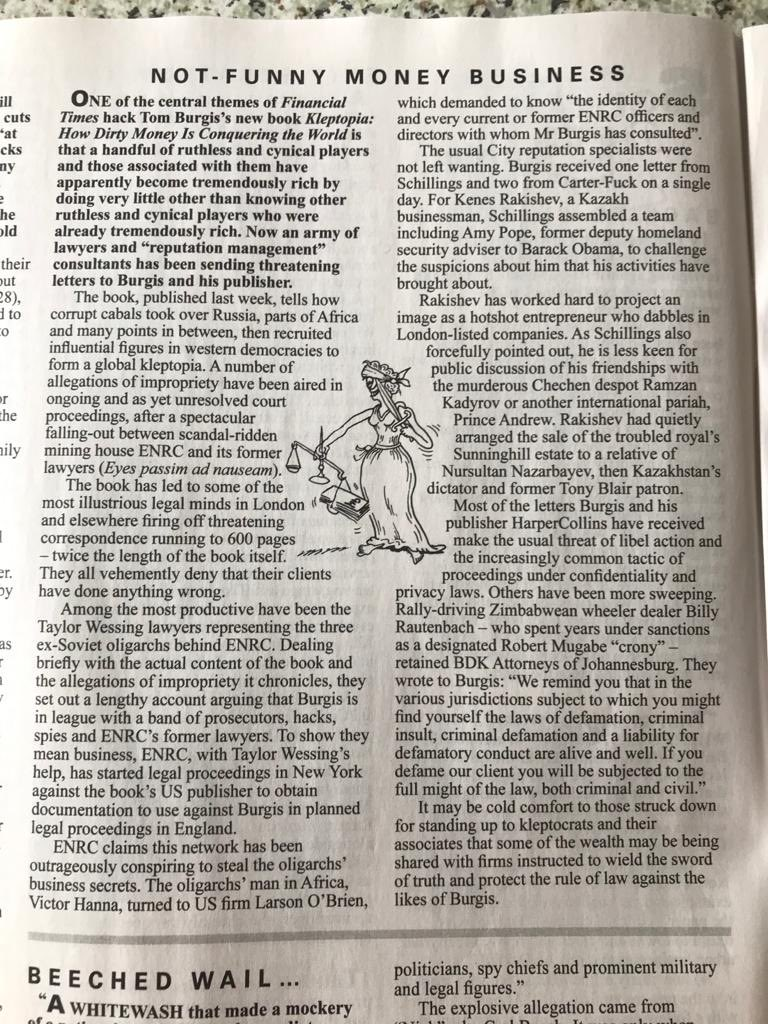 From the latest edition of @PrivateEyeNews, a tale of some very rich people (with very pricey lawyers) who would rather you didn't read my new book KLEPTOPIA.  Should you decide that, actually, you'd quite like to, it's OUT NOW in all good bookshops https://t.co/QXyHMEnjCS https://t.co/OnHXqCMt2A