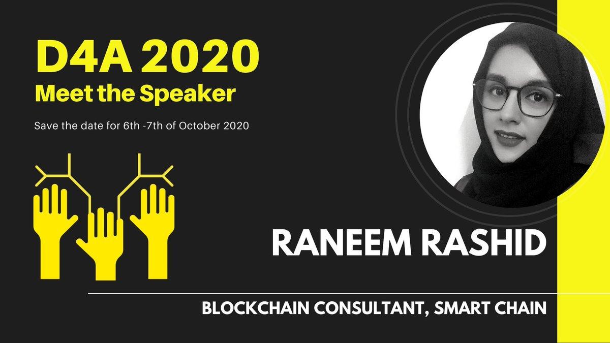 """نشعر بالفخر بتواجد أحد أفراد فريق السلسلة الذكية """"أ.رنيم محمد - مستشارة البلوكتشين"""" ,, كمتحدث رسمي في مؤتمر البلوكتشين والحوكمة العالمية D4A. We are proud of one of our team members """"Raneem Mohammed - Blockchain Consultant"""" as a Speaker: D4A - Blockchain For Governance. https://t.co/CZrkFkUNyt"""