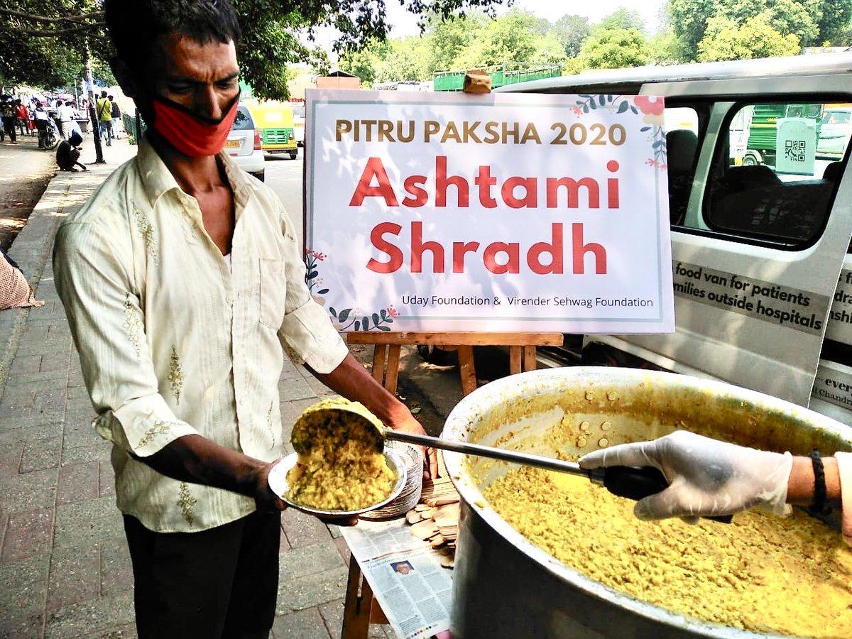 Pitru Paksha 2020 Ashtami Shradh   On this Pitru Paksha remember your ancestors by offering food to the poor and needy.   W/ @SehwagFoundatn   Details: https://t.co/jp4oqEL3Pa   #pitrupaksha https://t.co/fkq0OCh4w0