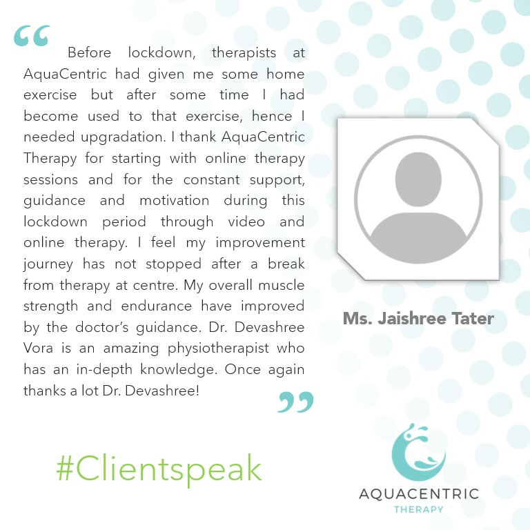 Ms. Jaishree Tater shares her experience about her treatment under supervision of our expert physiotherapists!  Call us today to book your session: 09372010196 & 08291828991  #clientspeak #feedback #testimonial #appreciation #recovery #goodvibes #healthyliving #physiotherapy https://t.co/rC9oQVKqKF