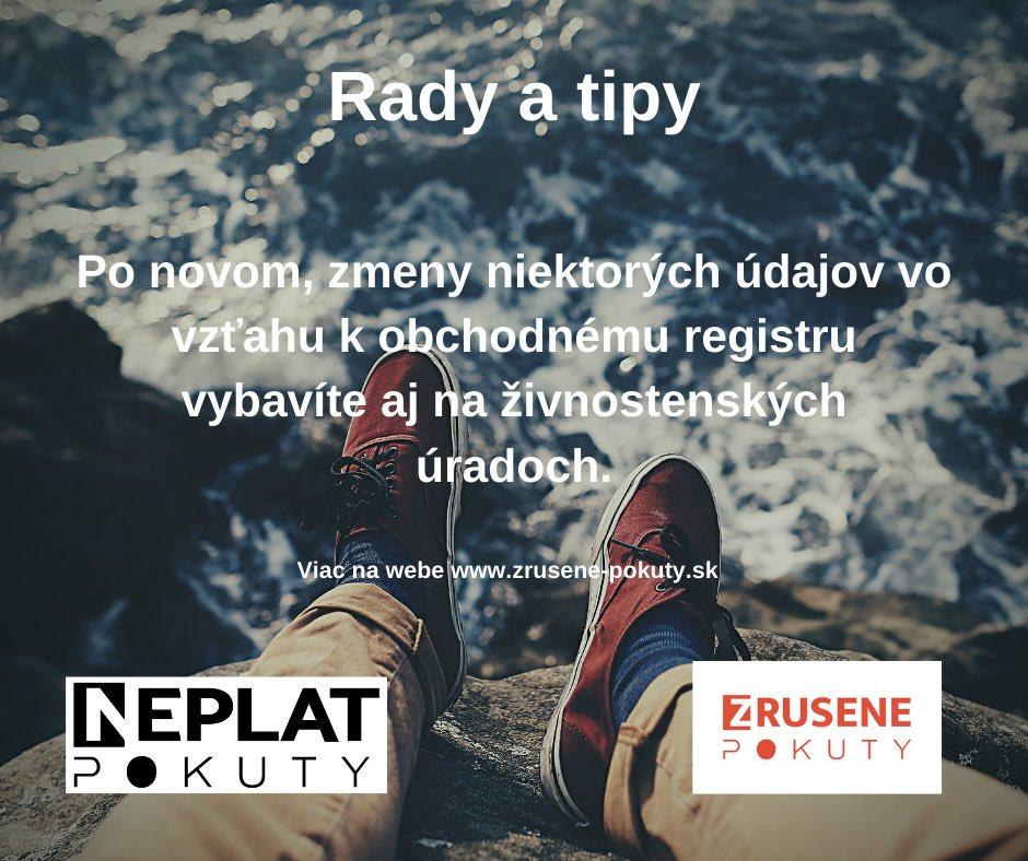 Niektoré zmeny v obchodnom registri vybavíte po novom aj na živnostenskom úrade   https://t.co/pyDDwbHAq3 : : #zrusenepokuty #neplatpokuty #pokuty #dane #podnikanie #slovensko #prednasky #dobravec #vzdelavanie #slovak #zakony #pomahame #financie #sloboda #podnikatel #podnikatel https://t.co/kxvtI3K88I