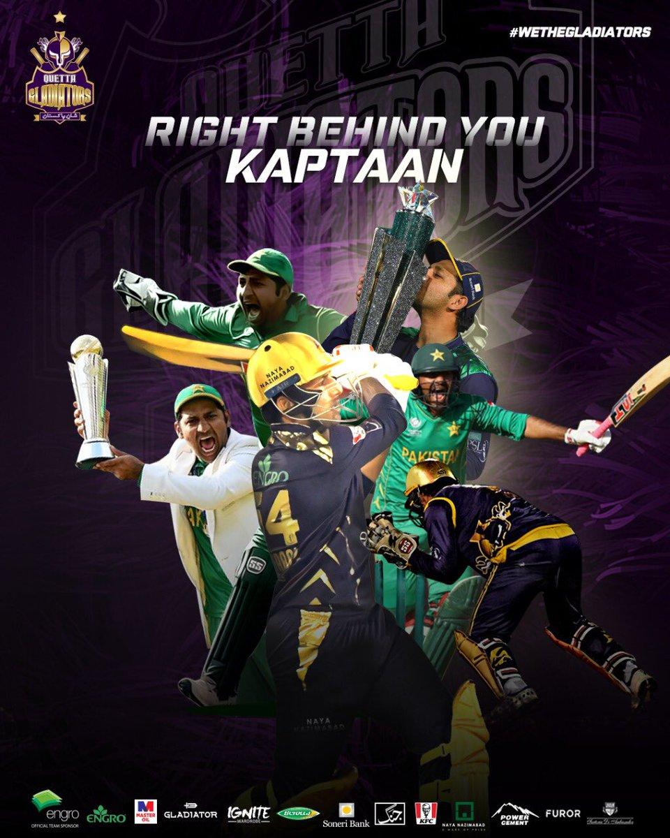 #PurpleForce is right behind you our 🌟 champion Kaptaan @SarfarazA_54   🙌🔝 Together we will rise to the top again  #WeTheGladiators #ShaanePakistan🇵🇰 https://t.co/fiDhBUh1vf