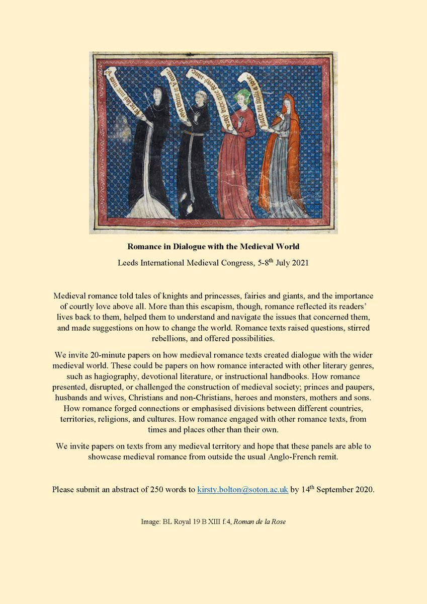 One last shout out for my #IMC2021 panels on Romance in Dialogue with the Medieval World. I've received such exciting abstracts so far and would really love some more to make lots of panels about romance! #medievaltwitter @IMC_Leeds https://t.co/oT04KOW3n7