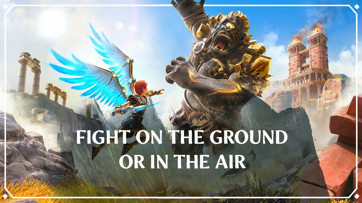 """""""With the Wings of Daedalus, you'll be able to jump higher, fight on the ground or in the air, and glide freely in the open world of @FenyxRising.""""  - Scott Phillips, Game Director at Ubisoft Québec https://t.co/8i63UHwsXw"""