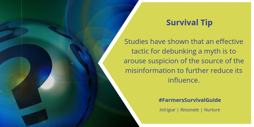 Myth-busting tip #2: Any mention of a myth should be preceded by explicit warnings to notify the reader/listener that the upcoming information is false.  For more myth-busting tips: https://t.co/aed6TyaYqs  #FSGtip #farmtoconsumerconvo #CdnAg #AgTwitter https://t.co/SkbNXV3EMT