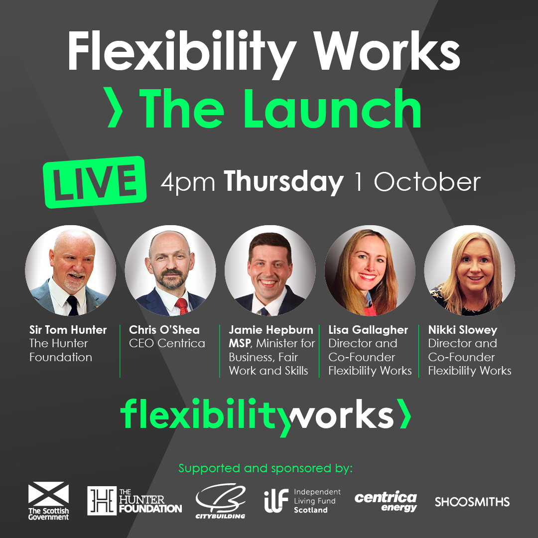 Excited for Flexibility Works>The Launch. Thurs 1 Oct is our launch event with great speakers @SirTomhunter Chris O'Shea, CEO @centricaplc & @jamiehepburn Also stories from people who work #flexibly Hosted by our fab founders @nikkislowey73 @_LisaMaclean  https://t.co/O0egVhpC1H https://t.co/zlJgFj7fKp