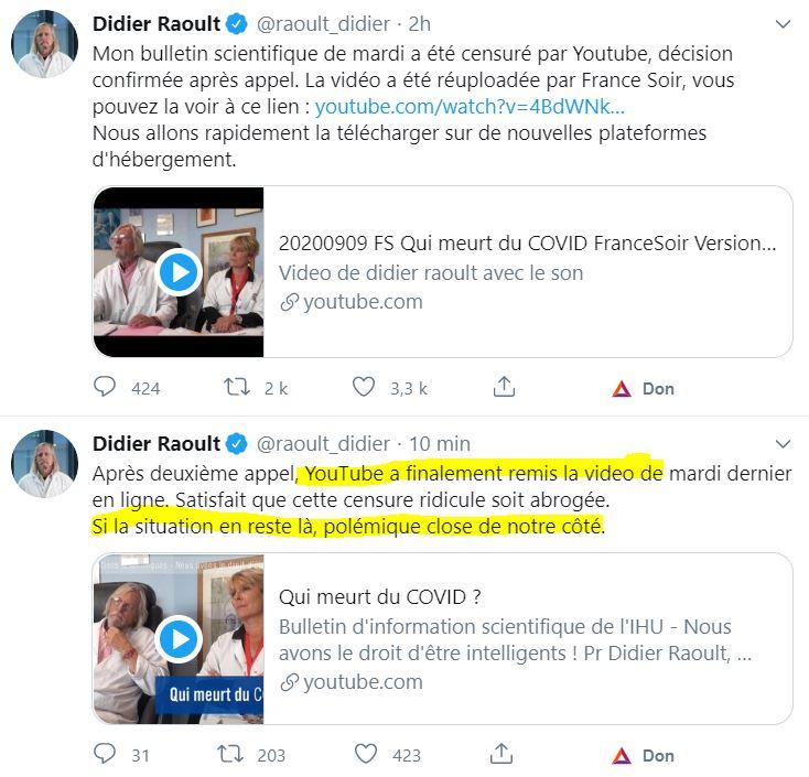 Coup de pression, Youtube remet la vidéo de Didier Raoult en ligne, la peur de voir les internautes partir chercher l'information vers des nouvelles plateformes a eu un effet radical ! 💪