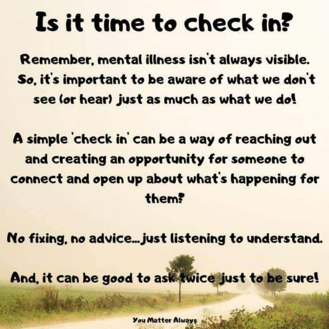 Is it time to CHECK IN? And, I don't just mean on others I mean on your beautiful self too. How are you doing? 💜💜💜 #YouMatterAlways #youareimportantandyoumatter  #checkinonafriend #checkinonyourself #betheonewhocares #WSPD2020 https://t.co/l2VhEXFBz1