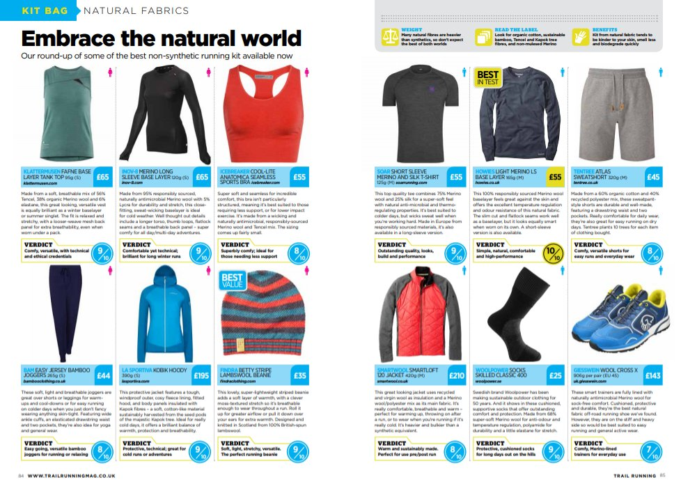 If you're after natural fabrics in your running gear, check out the latest edition of Trail Running for our reviews.  https://t.co/H95HrRwKTj https://t.co/hx8dfkejfU
