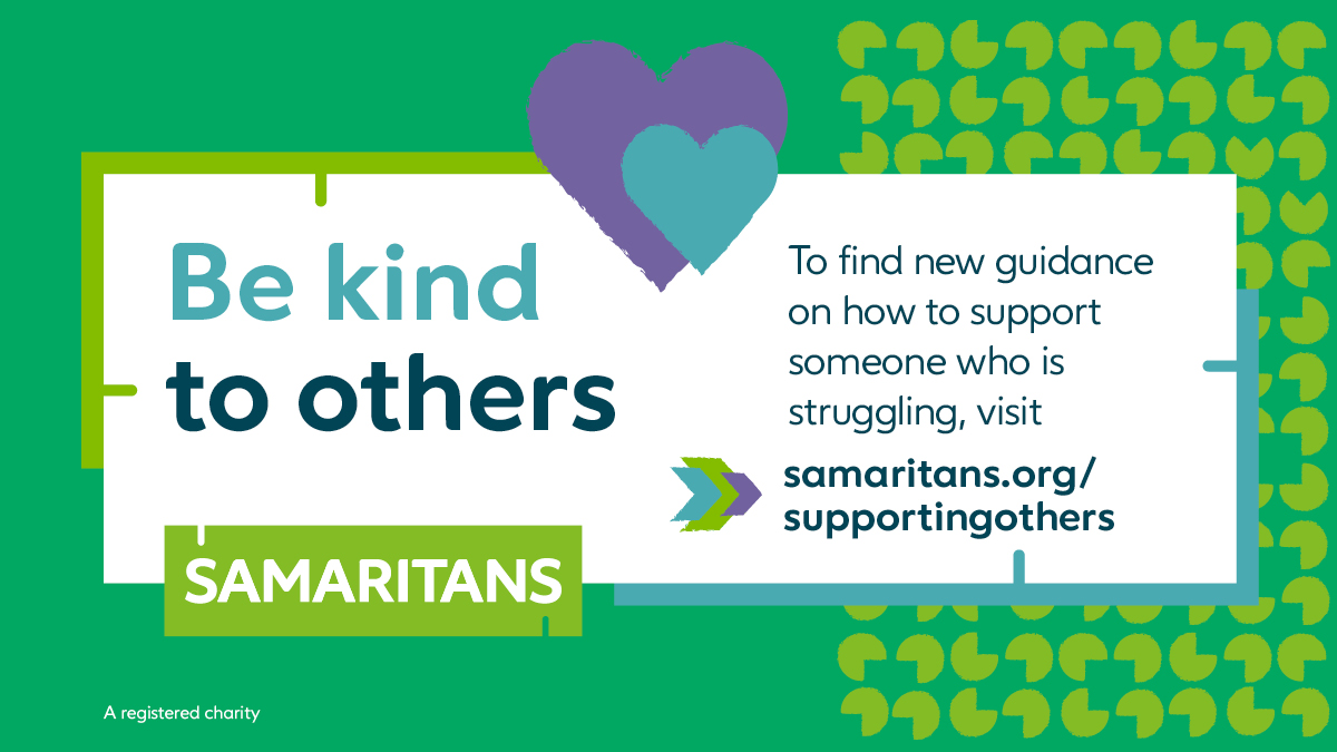 """Samaritans on Twitter: """"We can all play a part in suicide prevention. One way you can do this, is by learning about how you can support someone you're worried about. Find out"""