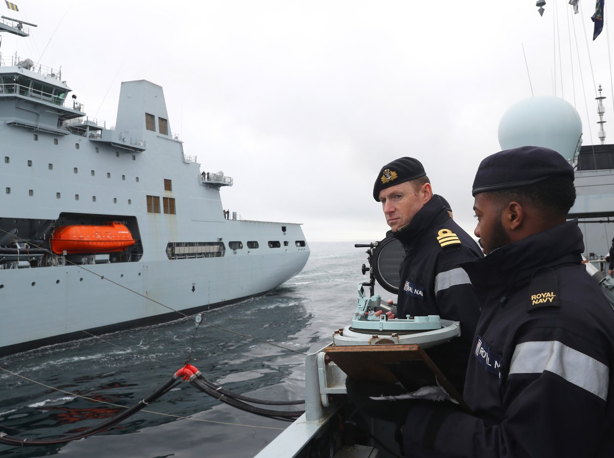 Frigate @HMSSutherland, supported by tanker @RFATidespring, is leading a task group in waters above the #ArcticCircle for the first time in 20 years. They are joined by @USNavy, Norway and Denmark to demonstrate freedom of navigation in the region  🔗 ow.ly/CVkM50BmVXH
