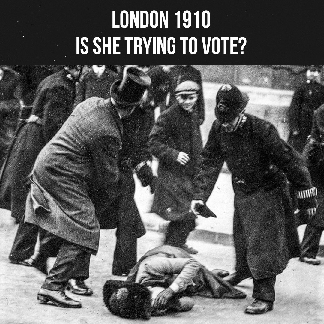 Some sites say this woman was ejected from a voting station in Britain for trying to vote. In fact, she was marching on the British Parliament on 18 November 1910 for women's right to vote. During this march, many women say that policemen were violent and squeezed their breasts. https://t.co/JvbZ8I6ds3