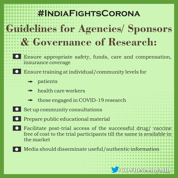 #IndiaFightsCorona:  📍Guidelines for agencies/sponsors and governance of research👇  #StaySafe #IndiaWillWin   Via @ICMRDELHI https://t.co/V9mlJTE2aN
