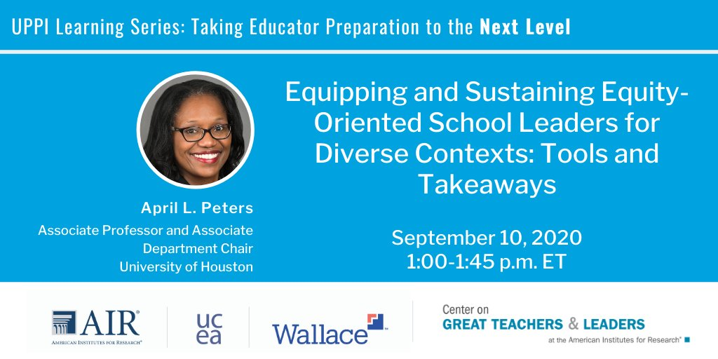 TODAY: April Peters of @UHouston offers tools and takeaways on for school leaders to design equitable outcomes for all learners. https://t.co/uUKvb2WzKN  #UPPI_NextLevel https://t.co/y8lKf3SeTE