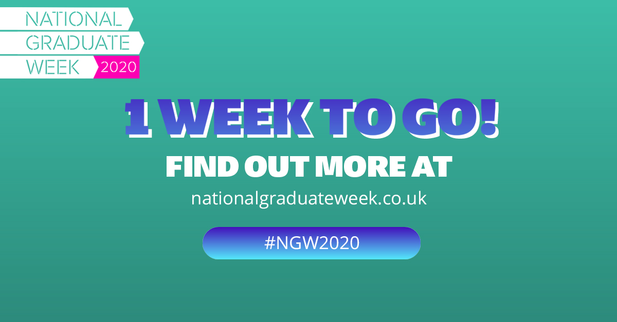 We're proud to be supporting National Graduate Week 2020 #NGW2020  Save the date: 21st – 25th September  Find out how you can get involved here: https://t.co/V8g0bg9SI3 https://t.co/39RM78tWW3