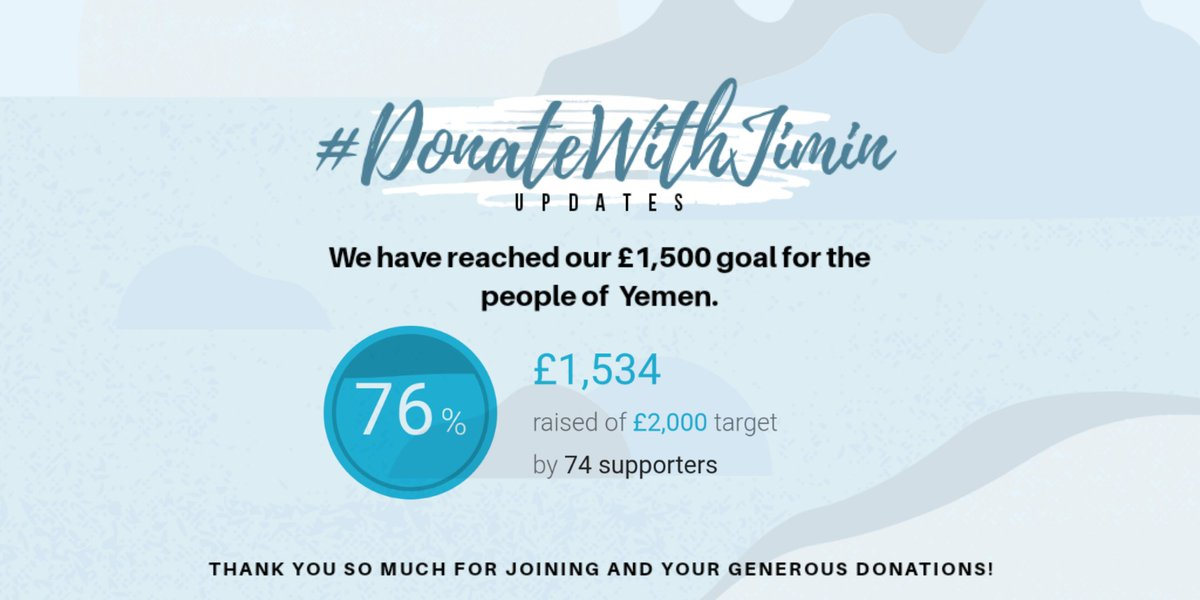 Thank you! We have achieved another goal (£1,500) for our #DonateWithJimin project! Thank you all so much for your donations and for joining this project :) The next goal is £2000! ⭐ Donate: https://t.co/OvDt7qvJGG https://t.co/LvRnLoEMKO