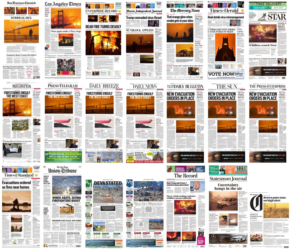 Todays front pages from California and Oregon.