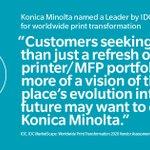 Image for the Tweet beginning: #KonicaMinolta Named a Worldwide Leader