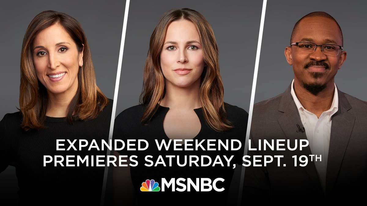 JUST ANNOUNCED: @MSNBC unveils new weekend lineup featuring @yasminv, @AliciaMenendez and @NBCJoshua premiering Saturday, September 19. https://t.co/DPODK5n1Et